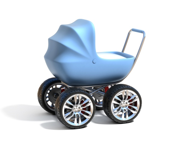 baby carriage with sport car wheels